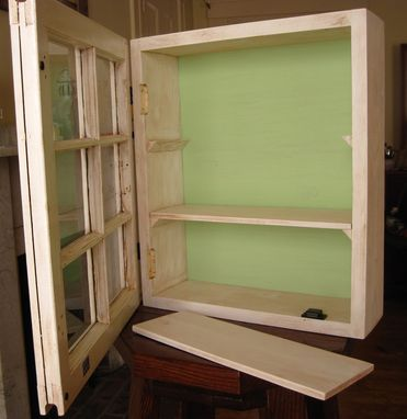 Custom Made Antiqued Window Cabinet