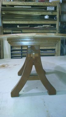 Custom Made Solid Cherry Ellipse Table With Matching Curved Bench