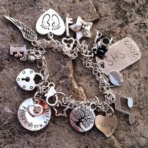 Charm Bracelet Sterling Silver Personalized Baby Feet Custom Hand Stamped Footprints