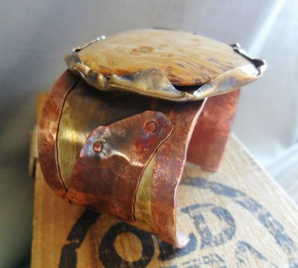 Custom Made Brass And Copper Cuff Bracelet With Petrified Palm Wood Stone