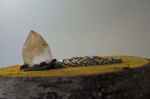 Custom Made Large Crystal And Pyrite Pendant