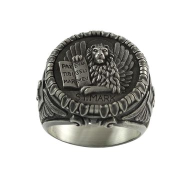 Custom Made Saint St. Mark The Evangelist Venetian Lion Handmade Silver Ring Templar Mason