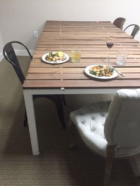 Custom Made Wood Slat Parsons Table