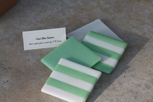 Custom Made White And Sea Green Glass Coasters In Set Of 4