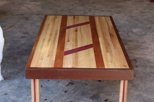 Custom Made Purple Heart, Walnut And Ash Table All Reclaimed Material