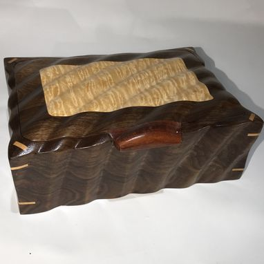 Custom Made Sculpted Jewelry, Keepsake, Or Watch Box In Quilted Maple & Walnut