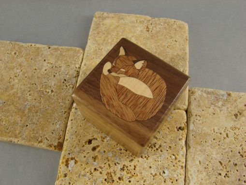 Custom Made Inlaid Fox Engagement Ring Box, With Free Engraving And Shipping. Rb-23