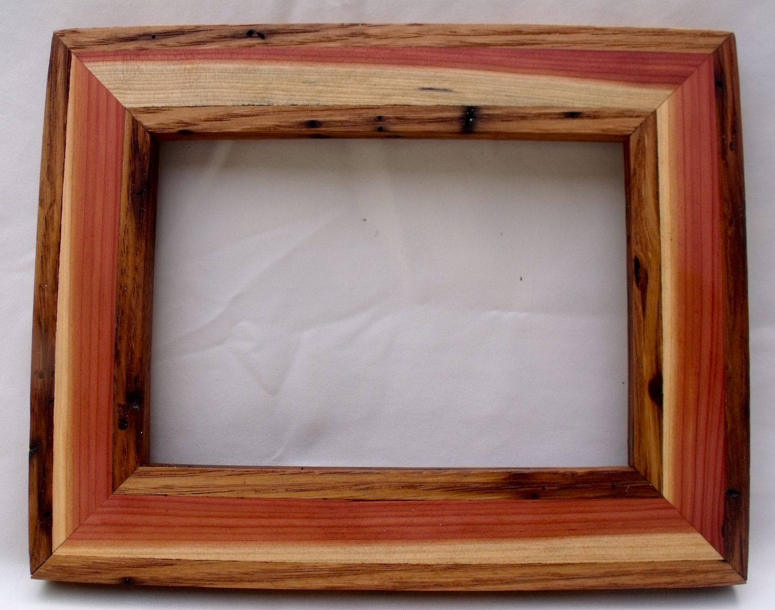reclaimed wormy american chestnut inlayed with cedar picture frame