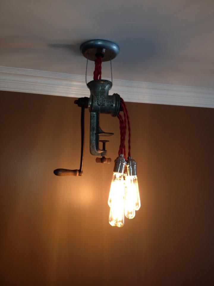 Custom Meat Grinder Light Fixture By Shamrock Salvage