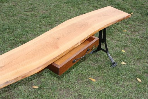 Custom Made Live Edge Cherry Bench Or Coffee Table With Antique Cast Iron Adjustable Legs