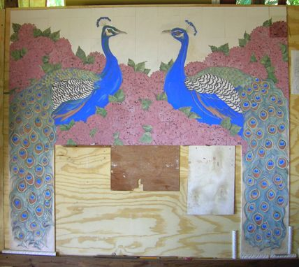 Custom Made Ceramic Tile Peacock Fireplace