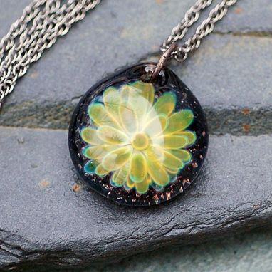 Custom Made Glass Flower Pendant Necklace Borosilicate Boro Lampwork Jewelry Green Esoteric Operator