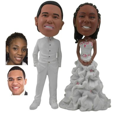 Custom Made Personalized Wedding Cake Topper Of A Couple In Fashionable White