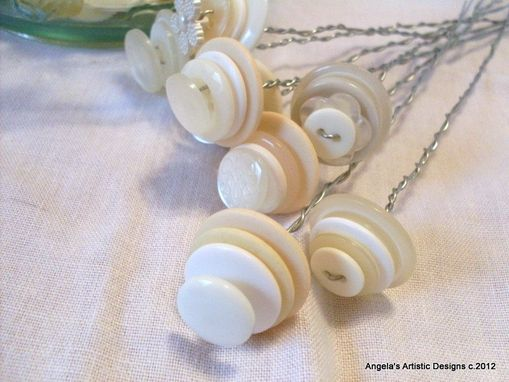 Custom Made Winter White Buttons Wedding Stems