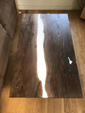 Custom Made Live Edge Walnut River Coffee Table