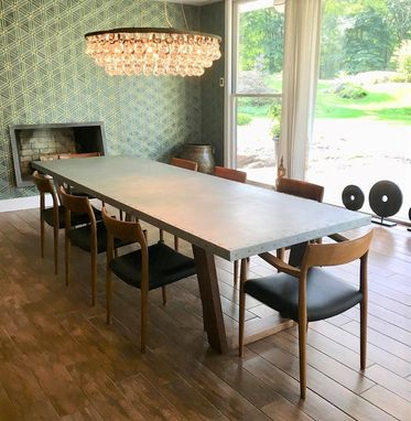 Custom Made Walnut And Zinc Dining Table
