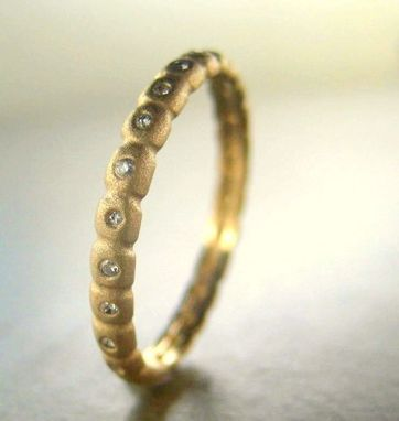 Custom Made 14k Gold Stacking Wedding Band With Diamonds