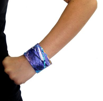 Custom Made Painted Cuff Wrist Band - Lavender Purple Blue Bracelet - Hemp Cuff - Wide Hemp Bracelet