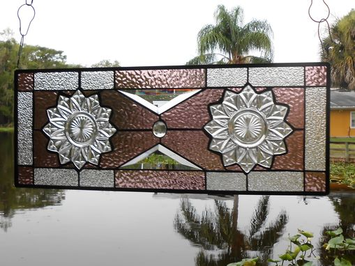 Custom Made Depression Glass Petal Pattern, Stained Glass Plate Panel, Stained Glass Transom Window