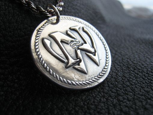 Custom Made Wedding Monogram Pendant Medallion In Fine Silver, With Sterling Silver French Rope Chain