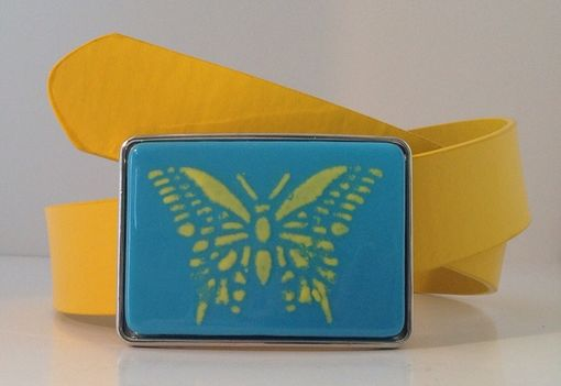 Custom Made Butterfly Fused Glass Belt Buckle