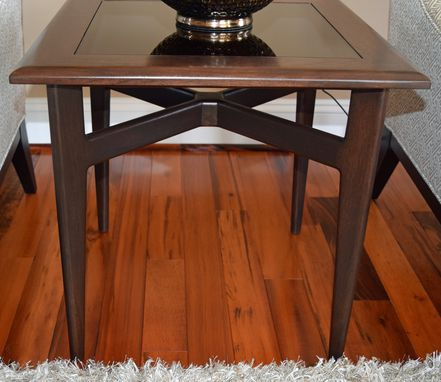 Custom Made Walnut & Glass Side Table