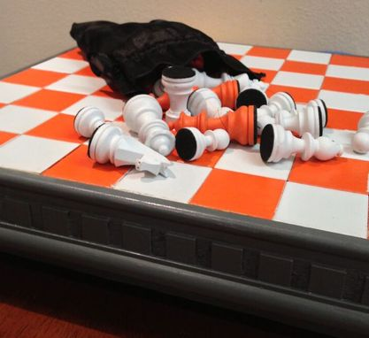 Custom Made Orange White And Gray Chess Board