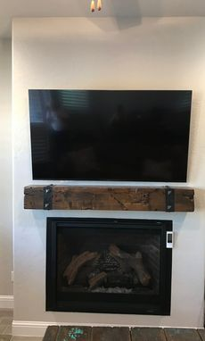 Custom Made Fireplace Mantel Rustic Beam Hand Hammered Straps