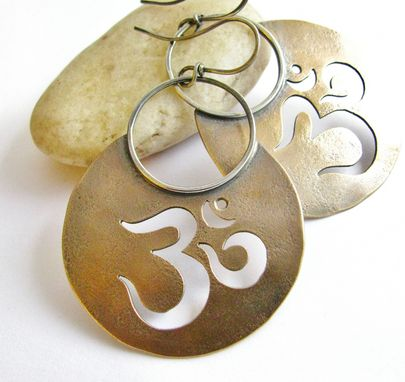 Custom Made Handcrafted Custom Made Om Earrings, Bronze, Copper, Or Sterling Silver