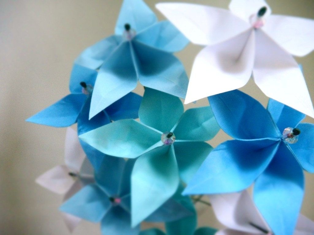 Hand crafted breezy blue stars whimsical origami paper flower custom made breezy blue stars whimsical origami paper flower bouquet mightylinksfo