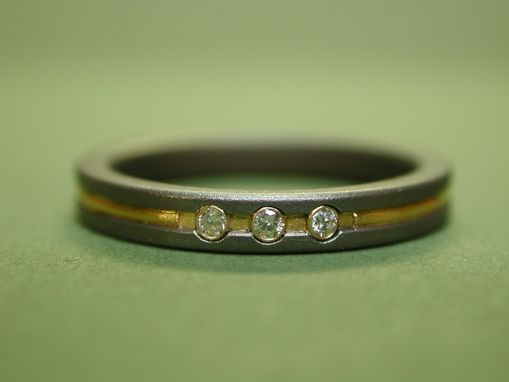 Custom Made Engagement Or Wedding Ring In Titanium With 24k Gold And Diamonds