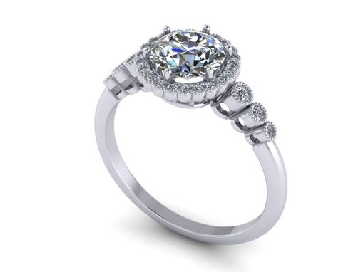Custom Made Antique Diamond Engagement Ring 14k White Gold Halo 1ct. 6mm-6.5mm Round