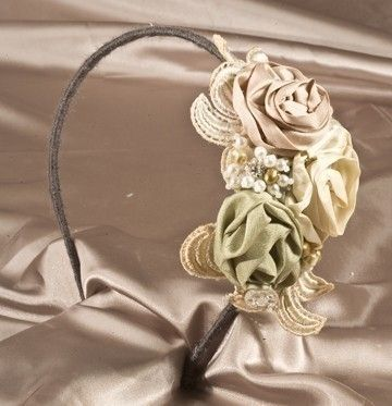 Custom Made Rolled Rose And Vintage Lace Fantasy Headband