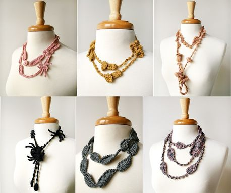 Custom Made Fiber Jewelry - One Of A Kind Custom Made Necklaces And Lariats Crocheted In 100% Silk