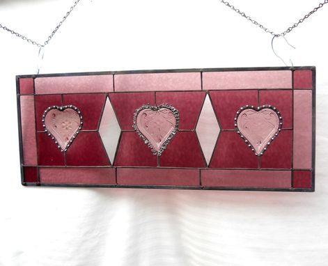 Custom Made Victorian Look Stained Glass Window Panel With Sandwich Glass Tiara Hearts