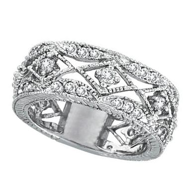 Custom Made Antique Style Diamond Ring Filigree Band