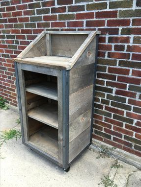 Handmade Rustic Industrial Reclaimed Wood Hostess Stand By