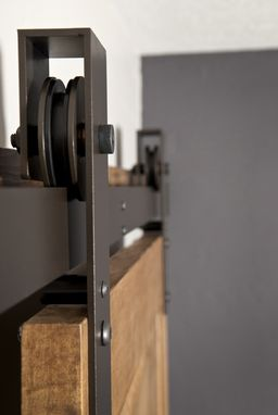 Custom Made Interior Barn Door Hardware: Flat Track Installation