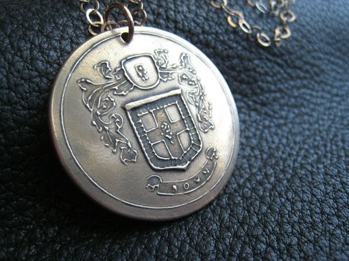 Custom Made Solid Bronze Family Crest Coat Of Arms Heraldry Medallion Pendant