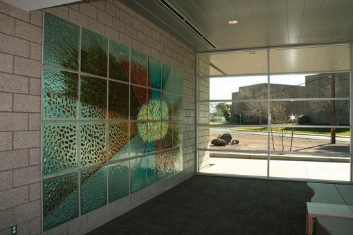 Custom Made Cast Glass Art Panels, Glass Mural In Sections