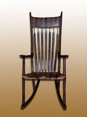 Custom Made Sam Maloof Styled Handsome & Very Comfortable, Soft Back Rocking Chair