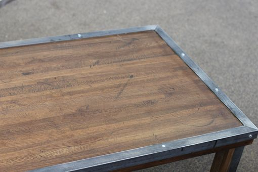 Custom Made Rustic Industrial Style Butcher Block Coffee Table
