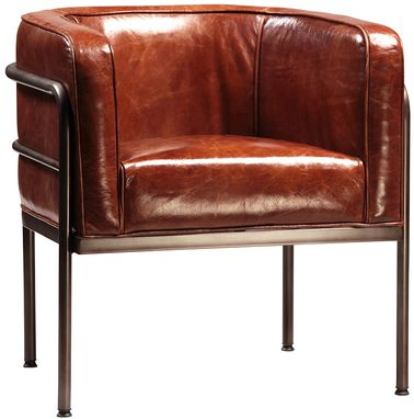 Custom Made Brantley Modern Barrel Leather Chair
