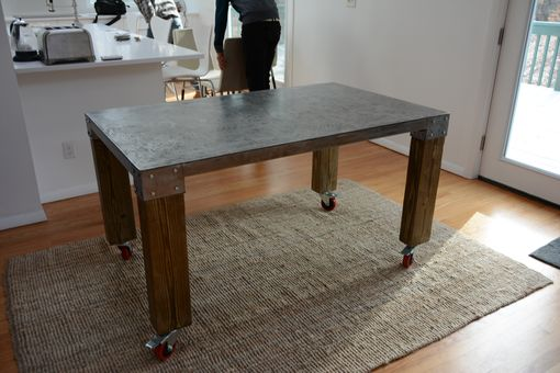 Custom Made Douglas Metal And Wood Table With Wheels