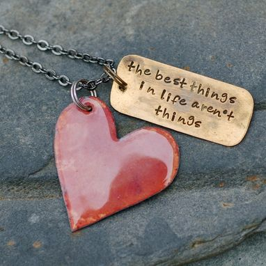Custom Made Enamel Heart Necklace Handstamped Brass Tag Pendant Enameled Jewelry Opal Coral, The Best Things