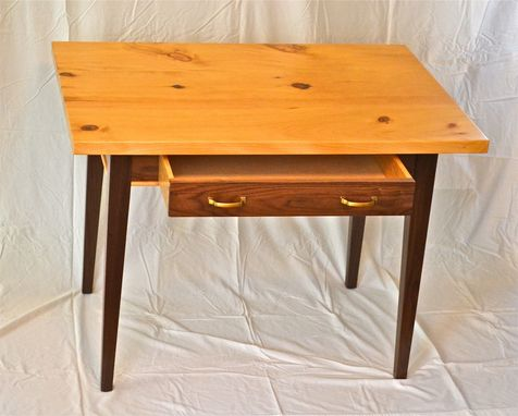 Hand Made Writing Desk Of Black Walnut And Knotty Pine By