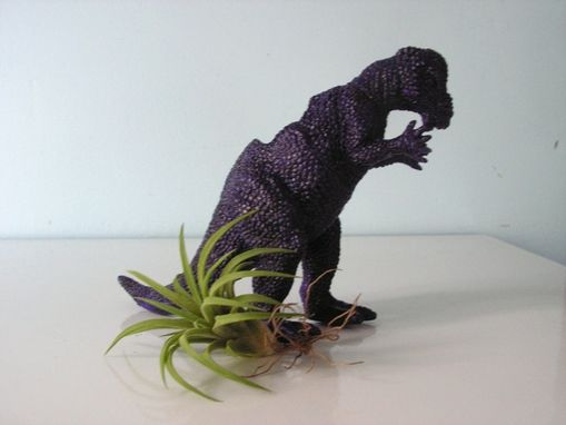 Custom Made Upcycled Dinosaur Planter - Dark Purple Pachycephalosaurus With Tillandsia Air Plant