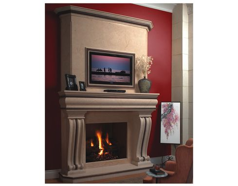 Custom Made Seamless Custome Stone Fireplace Mantels & Overmantels
