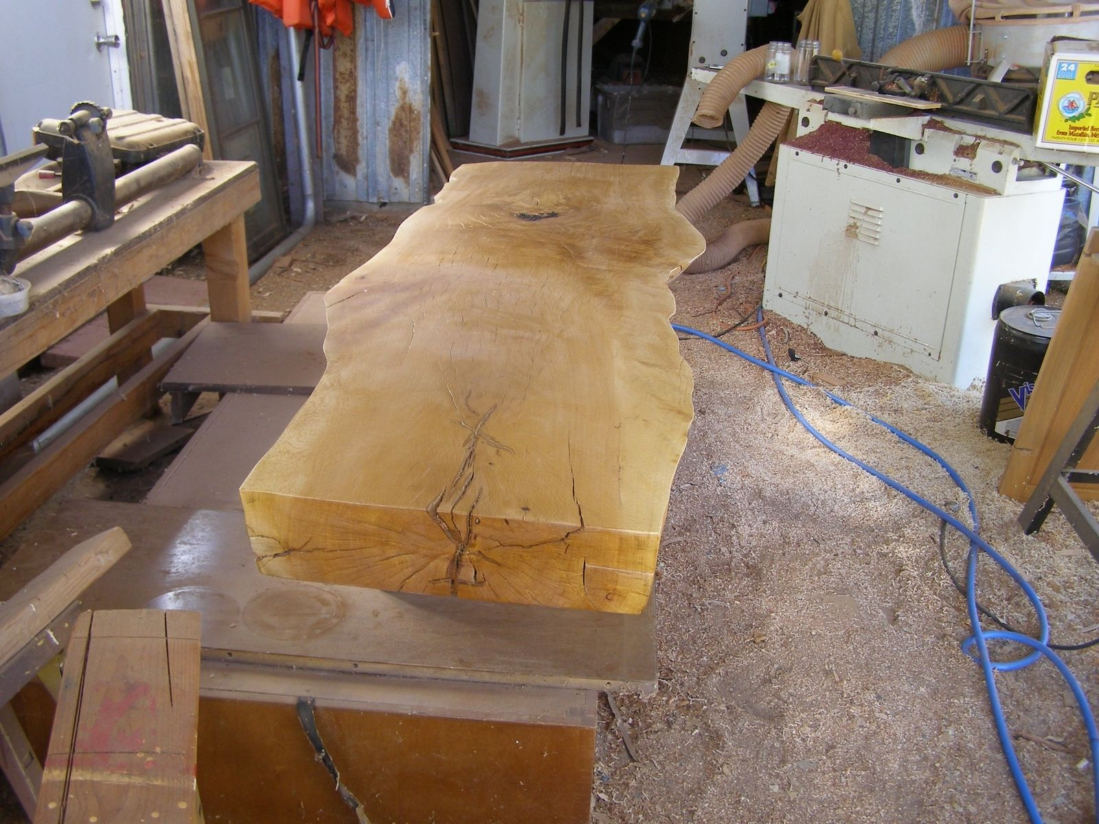 Custom Made Slab Oak Coffee Table For Sale by special tree