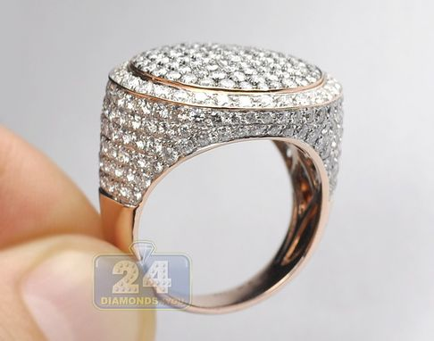 Custom Made 14k Rose Gold 6.34 Ct Diamond Round Signet Mens Ring